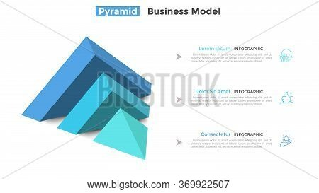 Half Of Pyramid Lying On Side Split Into 3 Parts Or Layers And Place For Text. Concept Of Three Feat