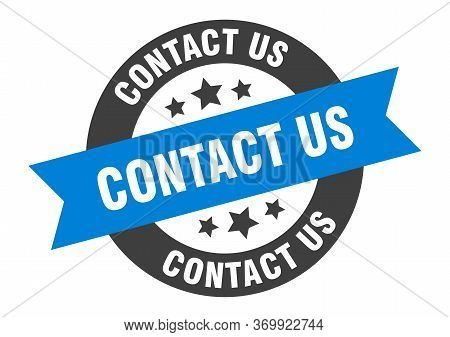 Contact Us Sign. Contact Us Blue-black Round Ribbon Sticker