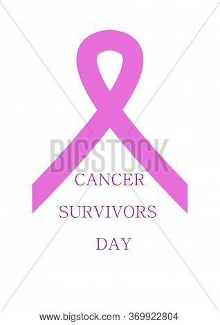 Breast Cancer Ribbon. International Cancer Survivors Day. Cancer Awareness Ribbon. Poster For The Mo