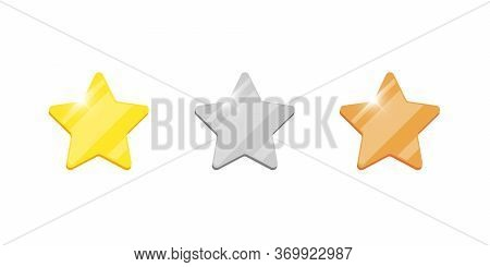 Gold Silver Bronze Badge Star Reward Icon Set For Computer Video Game Or Mobile Apps Animation. Firs