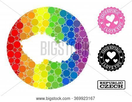 Vector Mosaic Lgbt Map Of Czech Republic With Circle Elements, And Love Scratched Seal. Stencil Roun