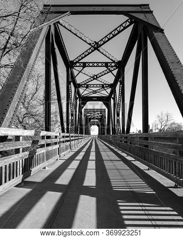 Whide Angle View Of The City Of Winters Famous Historic Trestle Train Bridge In Black And White, Cal