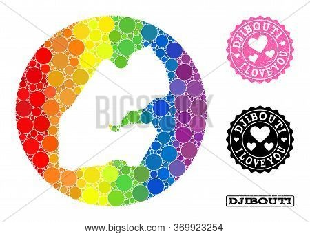 Vector Mosaic Lgbt Map Of Djibouti With Circle Dots, And Love Rubber Seal Stamp. Stencil Round Map O