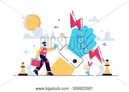 Power Vector Illustration. Flat Tiny Strong Influence Authority Persons Concept. Business Control St
