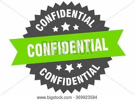 Confidential Sign. Confidential Green-black Circular Band Label