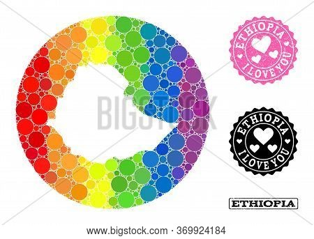 Vector Mosaic Lgbt Map Of Ethiopia With Circle Spots, And Love Watermark Stamp. Hole Circle Map Of E