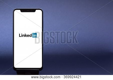 Belgorod , Russia - MAY, 29, 2020: LinkedIn logo form on a screen. Linkedin is a social networking website for people in professional occupations.