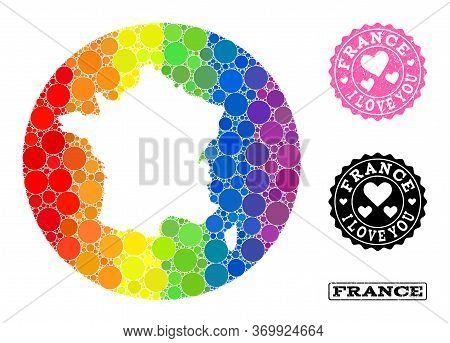Vector Mosaic Lgbt Map Of France With Round Blots, And Love Rubber Seal Stamp. Subtraction Round Map