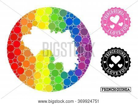 Vector Mosaic Lgbt Map Of French Guinea With Round Dots, And Love Rubber Seal Stamp. Stencil Round M