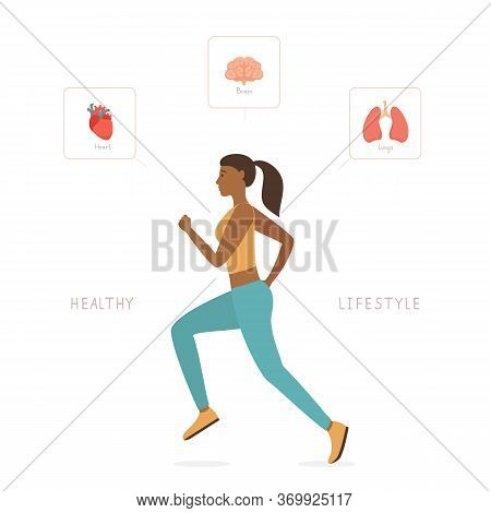 Sports Active Lifestyle. Running Woman. Set Of Internal Human Organs Like Heart, Lungs And Brain Aro