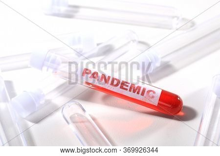 Pandemic Style Blood Testing Tubes on White With Label
