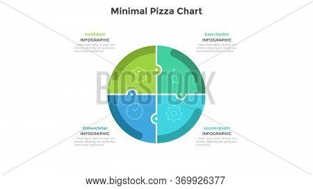 Pizza Chart Divided Into 4 Colorful Jigsaw Puzzle Pieces Or Sectors. Concept Of Four Parts Of Startu