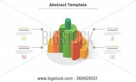 Volumetric Diagram With Four Colorful 3d Round Elements And Place For Text. Concept Of Four Steps Or