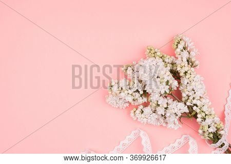 Spring Bouquet And Lace On Pink Background. White Lilac.