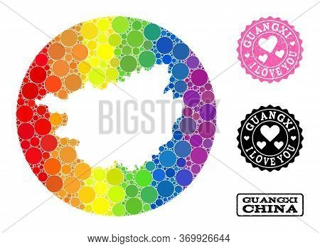 Vector Mosaic Lgbt Map Of Guangxi Province With Round Items, And Love Scratched Stamp. Stencil Circl