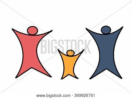 Family Logo. Abstract People. International Family Day. Doodle Children And Parents. Illustration On