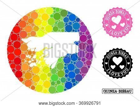 Vector Mosaic Lgbt Map Of Guinea-bissau With Circle Dots, And Love Grunge Seal Stamp. Stencil Round