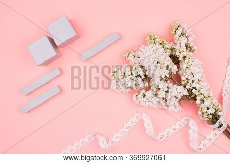 Greeting Card In Gentle Tones. A Bouquet Of Lilacs In Lace And Calendar.