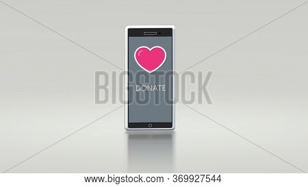Heart On A White Phone Screen. World Heart Day. World Charity Day. Message Call For Donation.
