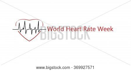 World Heart Rate Week. Red Heart With Cardiogram, Healthcare, World Heart Day, World Health Day. Med