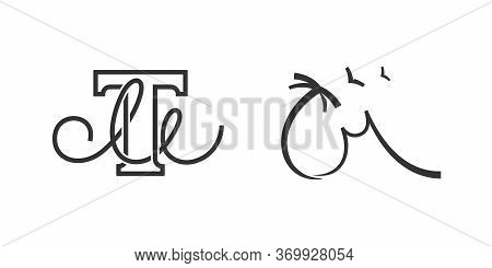 Initial Letter Tm Or Mt Company Name Design Concept Set. T And M Corporate Identity Monogram In Wave