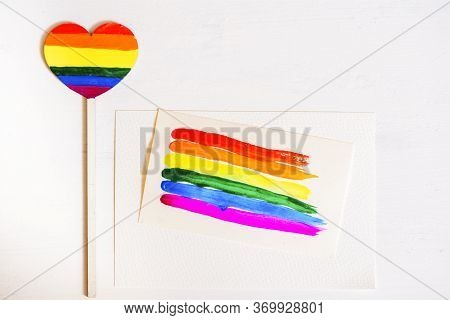 Multi-colored Drawing By Paints. Rainbow On Paper, Bright Card.abstract Gradient Wallpaper Rainbow C