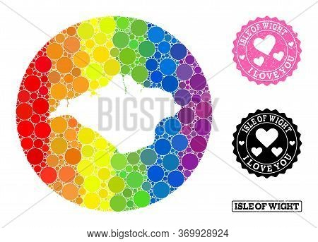 Vector Mosaic Lgbt Map Of Isle Of Wight From Round Elements, And Love Rubber Seal. Hole Round Map Of