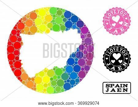 Vector Mosaic Lgbt Map Of Jaen Spanish Province Of Circle Blots, And Love Scratched Seal. Subtractio
