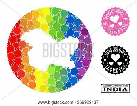 Vector Mosaic Lgbt Map Of Jammu And Kashmir State With Spheric Items, And Love Grunge Seal Stamp. Su