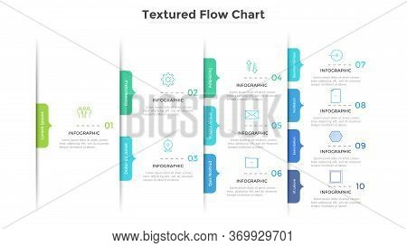 Flowchart, Tree Diagram Or Workflow Chart With Arrow-like Elements. Concept Of Stages Of Business Pr