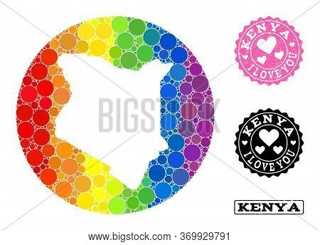 Vector Mosaic Lgbt Map Of Kenya With Circle Elements, And Love Rubber Seal Stamp. Stencil Round Map