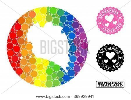 Vector Mosaic Lgbt Map Of Ko Pha Ngan With Round Elements, And Love Watermark Seal Stamp. Hole Round