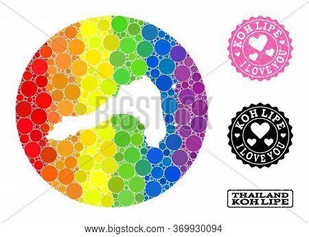 Vector Mosaic Lgbt Map Of Koh Lipe With Round Items, And Love Rubber Stamp. Stencil Round Map Of Koh