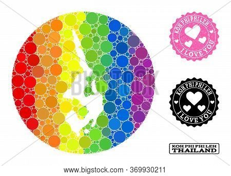 Vector Mosaic Lgbt Map Of Koh Phi Leh With Circle Elements, And Love Scratched Seal. Subtraction Rou