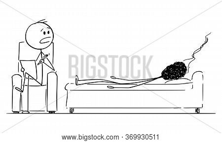 Vector Cartoon Stick Figure Drawing Conceptual Illustration Of Burnout, Tired And Stressed Man Or Bu