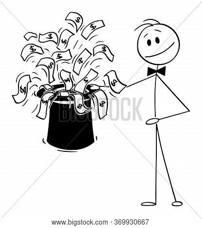 Vector Cartoon Stick Figure Drawing Conceptual Illustration Of Businessman Magician With Black Top H
