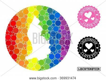 Vector Mosaic Lgbt Map Of Liechtenstein With Circle Spots, And Love Rubber Stamp. Subtraction Circle