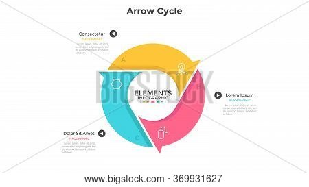 Round Cyclic Chart With 3 Colorful Arrow Elements. Concept Of Three Steps Or Stages Of Production Cy