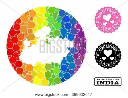 Vector Mosaic Lgbt Map Of Madhya Pradesh State With Round Dots, And Love Grunge Stamp. Stencil Round