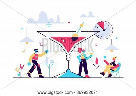 Happy Hour Vector Illustration. Flat Tiny Cheap Alcohol Time Persons Concept. Get Second Drink For F
