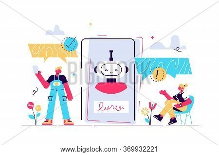 Chatbot Vector Illustration. Mini Persons Talk With Digital Robot Concept. Artificial Intelligence F
