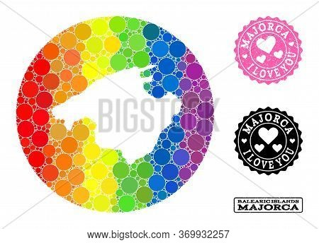 Vector Mosaic Lgbt Map Of Majorca With Round Blots, And Love Watermark Seal. Subtraction Round Map O