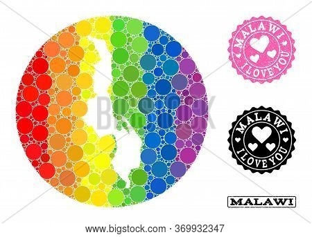 Vector Mosaic Lgbt Map Of Malawi With Round Blots, And Love Grunge Seal. Subtraction Circle Map Of M