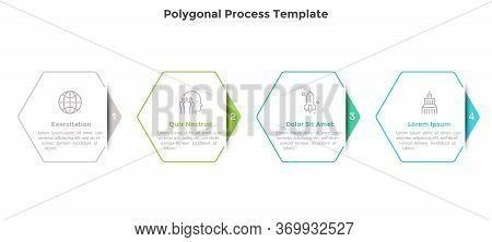 Progress Bar Or Process Chart With Four Hexagonal Paper White Elements. Concept Of 4 Successive Step
