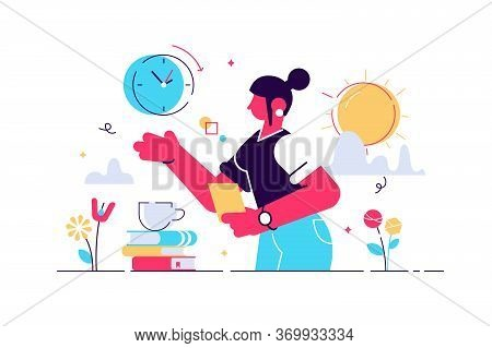 Biological Clock Vector Illustration. Flat Tiny Aging Childless Persons Concept. Woman Reproductive