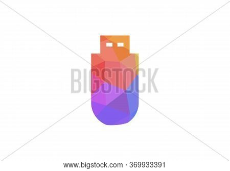 Usb Data Transfer Filled Flat Sign For Mobile Concept And Web Design. Colorful Usb, Low Poly Usb Log