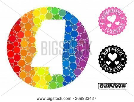 Vector Mosaic Lgbt Map Of Mississippi State Of Round Elements, And Love Scratched Seal. Stencil Roun