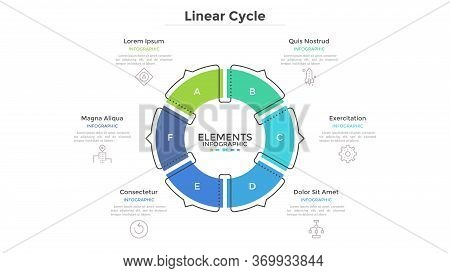 Circular Cyclic Diagram Divided Into 6 Colorful Sectors With Arrows Or Pointers. Concept Of Six Step