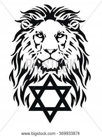 The Lion And The Symbol Of Judaism - Star Of David, Megan David,   Drawing For Tattoo, On A White Ba