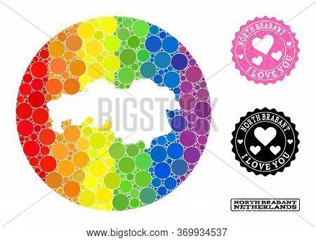 Vector Mosaic Lgbt Map Of North Brabant Province Of Spheric Dots, And Love Rubber Stamp. Stencil Rou